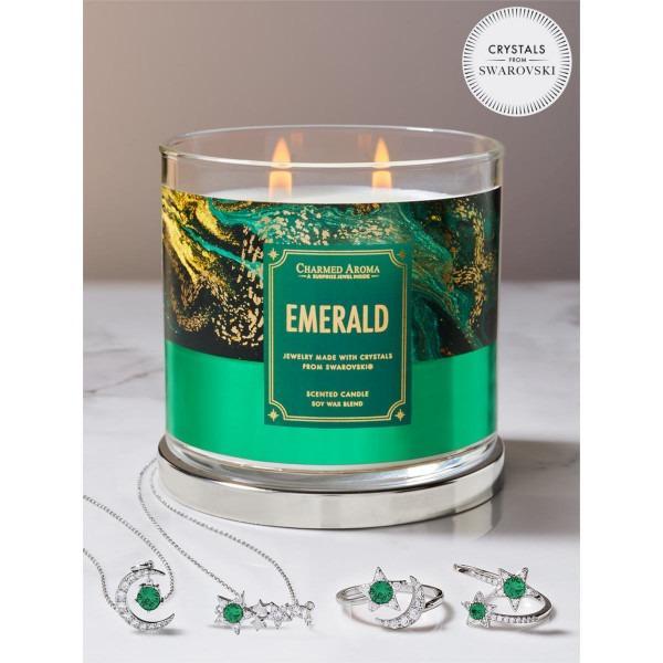 Charmed Aroma - Duftkerze mit Schmuck - Duftkerze im Glas Smaragd Geburtsstein (Ring oder Halskette)