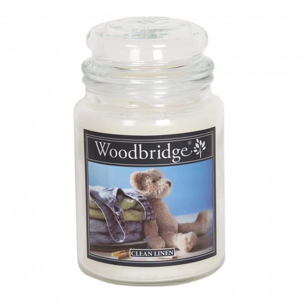 Woodbridge Candle - Große Duftkerze im Glas - Clean Linen