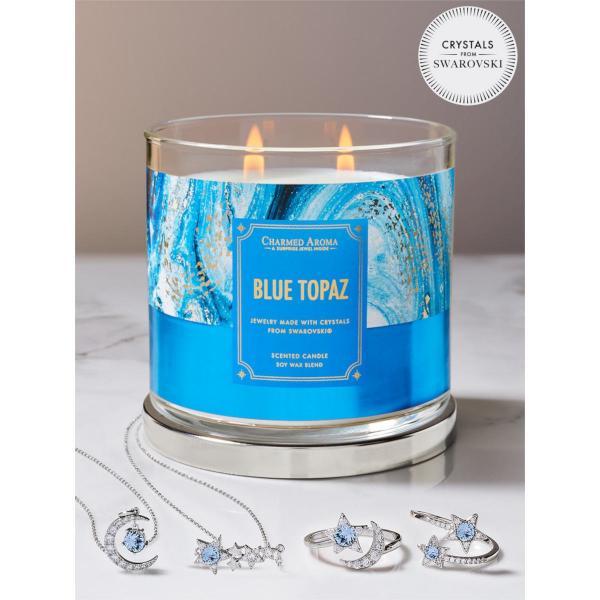 Charmed Aroma - Duftkerze mit Schmuck - Duftkerze im Glas Blautopas Geburtsstein (Ring oder Halskett