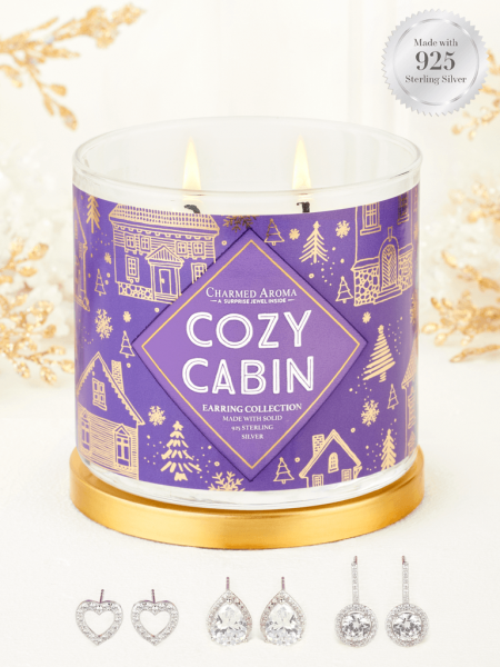 Charmed Aroma - Duftkerze mit Schmuck - Cozy Cabin (Ohrringe)