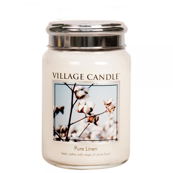 Village Candle - Large Glass Jar - Pure Linen
