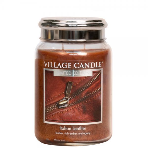 Village Candle - Large Glass Jar - Italien Leather (LE)