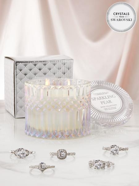 Charmed Aroma - Duftkerze mit Schmuck - Duftkerze im Glas Sparkling Pear Swarovski (Ring)