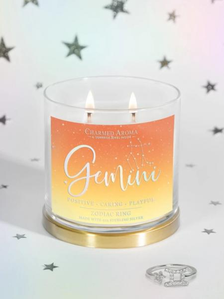 Charmed Aroma - Duftkerze mit Schmuck - Zwilling Sternzeichen Kerze (Ring)